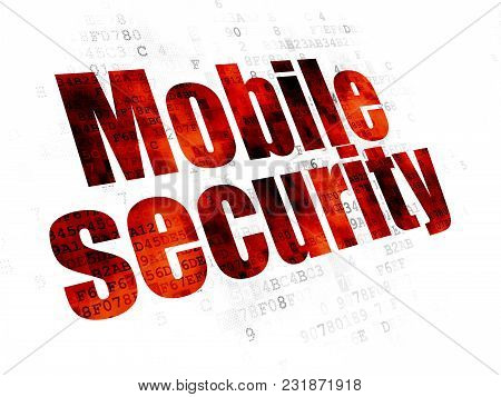 Protection Concept: Pixelated Red Text Mobile Security On Digital Background