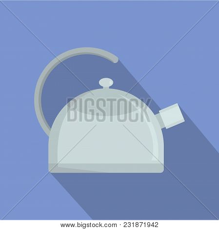 Kitchen Kettle Icon. Flat Illustration Of Kitchen Kettle Vector Icon For Web