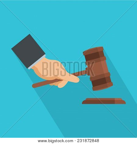 Gavel In Hand Icon. Flat Illustration Of Gavel In Hand Vector Icon For Web