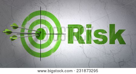 Success Finance Concept: Arrows Hitting The Center Of Target, Green Risk On Wall Background, 3d Rend