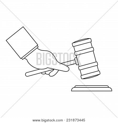 Gavel In Hand Icon. Outline Illustration Of Gavel In Hand Vector Icon For Web