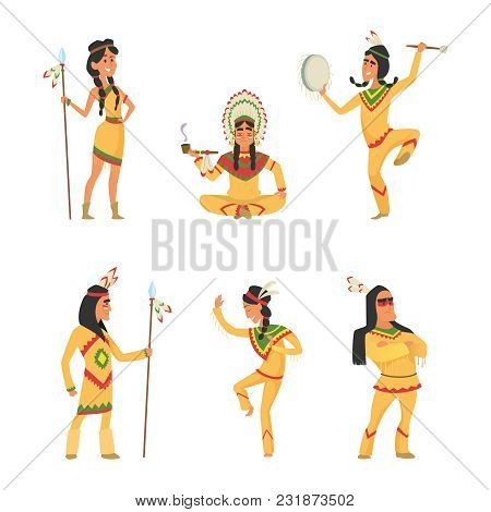 Native American Indians. Cartoon Characters Set In Vector Style. Illustration Of Indian Traditional