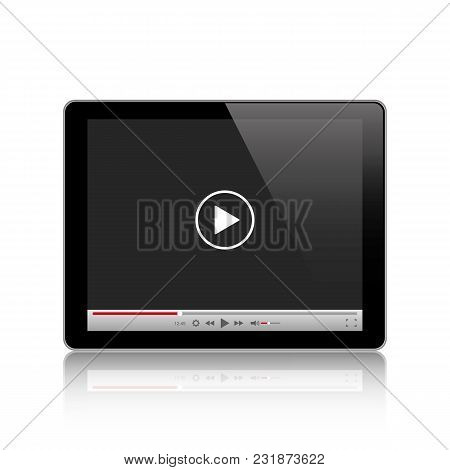 Tablet Computer With Video Player. Stock Vector