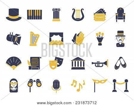 Monochrome Icon Set Of Theatre Theme. Entertainment And Music, Ticket To Performance, Spotlight And