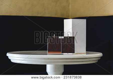 Round Table With Blank Mock Up For You Advertising.