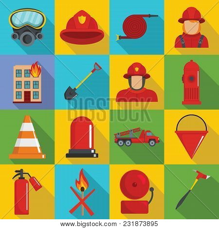 Fire Fighter Icons Set. Flat Illustration Of 16 Fire Fighter Vector Icons For Web