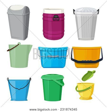 Different Containers And Buckets. Vector Illustrations In Cartoon Style. Trashcan And Bucketful, Dus