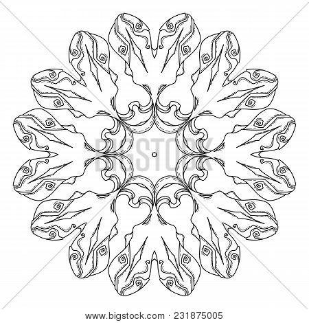 Mandala. Abstract Decorative Background. Islam, Arabic, Oriental, Indian, Ottoman, Yoga Motifs. Vect