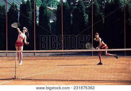 Sport, Training, Workout. Women Athletes Play Tennis, Training. Energy, Energetic, Activity. Wellnes