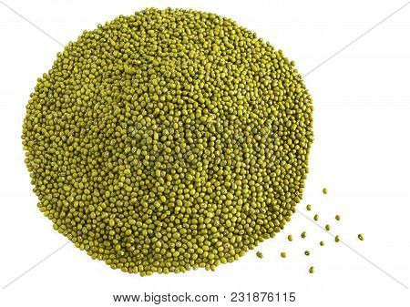 Heap Of Mung Beans A Lot Of With Copy Space For Text Isolated On Background. Concept Food For Health