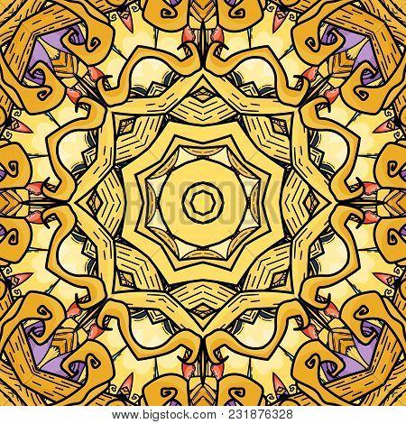 Vector Seamless Pattern In Mandala Style. Endless Ornate Ornament
