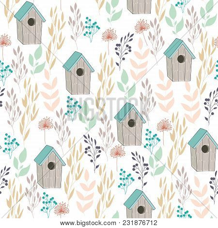 Vector Seamless Floral Background With Birdhouse And Plants