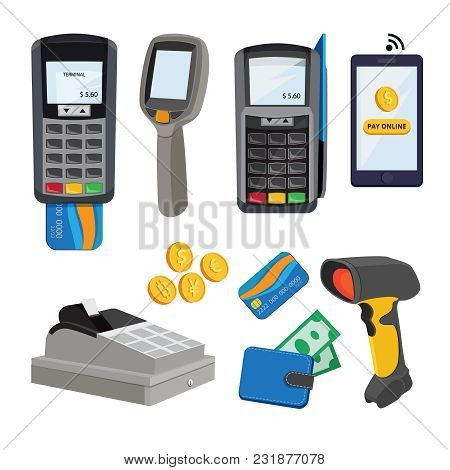 Money Terminal. Bank Cards Payment. Vector Pictures In Cartoon Style. Transaction Electronic And Tra