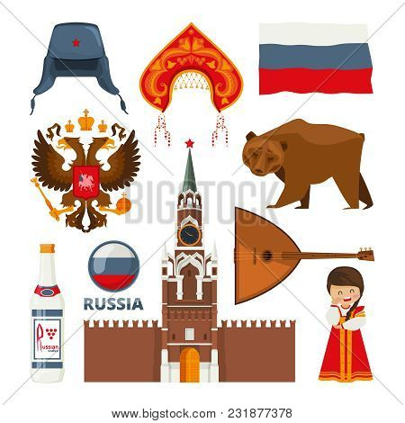 Set Of Different Traditional National Symbols Of Russia Moscow. Vector Russian Culture And Architect