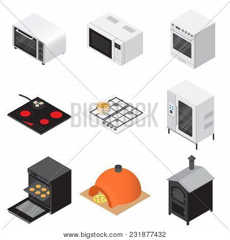 Oven Stove Furnace Fireplace Icons Set. Isometric Illustration Of 16 Oven Stove Furnace Fireplace Ve