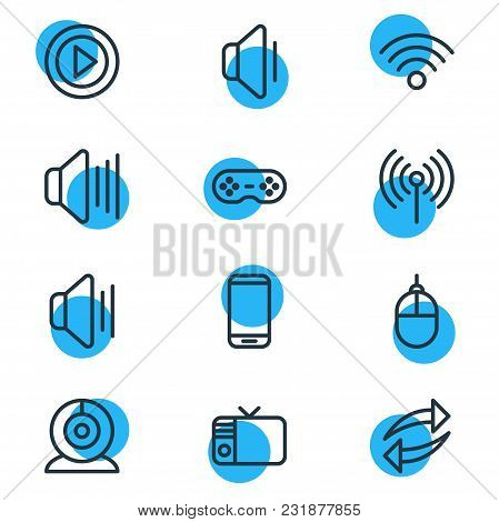Vector Illustration Of 12 Music Icons Line Style. Editable Set Of Sound, Manipulator Device, Share A
