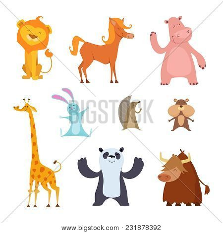 Exotic Wild Animals In Cartoon Style. Wild Mammal Character, Tropical Hippopotamus And Panda, Bull A