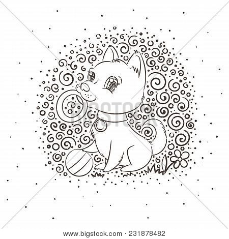 Happy Golden Cartoon Puppy. Cute Little Dog Wearing Collar. Vector Illustration On Patterned Backgro