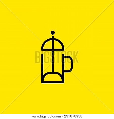 Icon Of French Press. Plunger, Coffee Pot, Tea. Brewing Concept. Can Be Used For Topics Like Device,