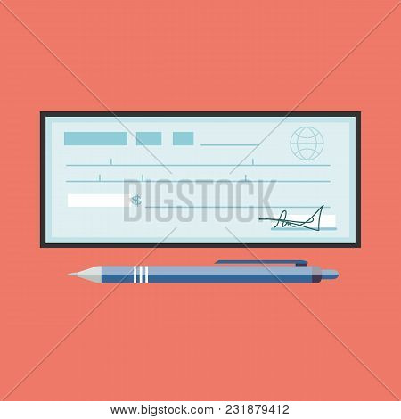Cheque Vector Illustration. Cheque Icon In Flat Style. Cheque Book On Colored Background. Bank Check