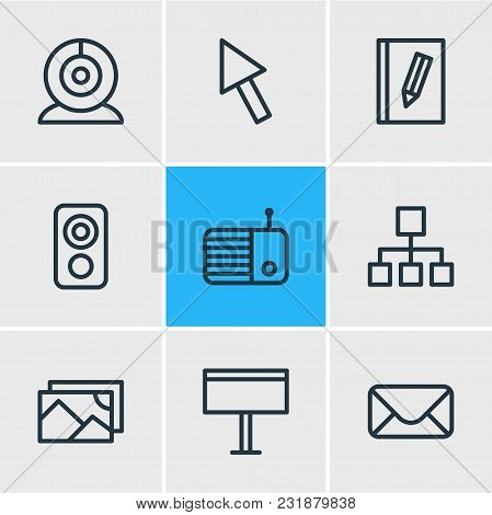 Vector Illustration Of 9 Music Icons Line Style. Editable Set Of Search, Telephone, Network And Othe