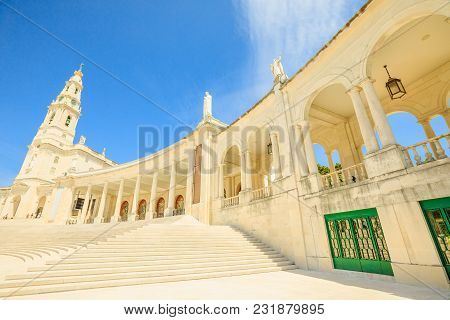 Fatima, Portugal - August 15, 2017: Perspective View Of Staircase Of Basilica Of Nossa Senhora Of Sa