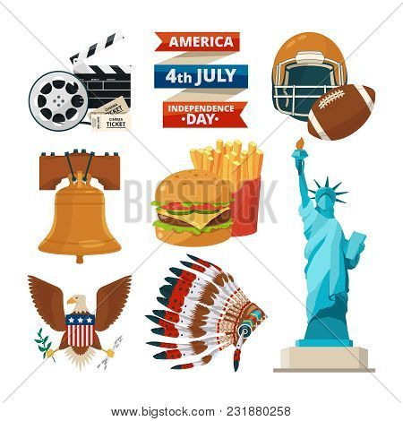 Culture Objects Of Americans Usa. Vector Illustrations In Cartoon Style. American Culture, Statue Of