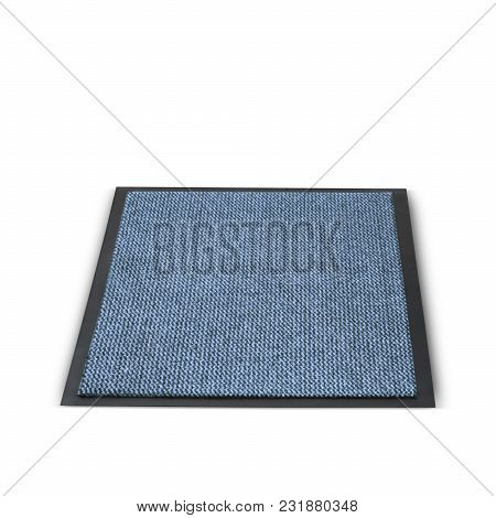 Beautiful Welcome Rectangular Shape Plain Foot Mat In A Blue Color That Gives A Great Touch Of Beaut