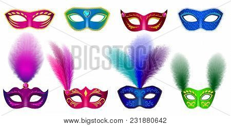 Carnival Mask Venetian Mockup Set. Realistic Illustration Of 8 Carnival Mask Venetian Mockups For We