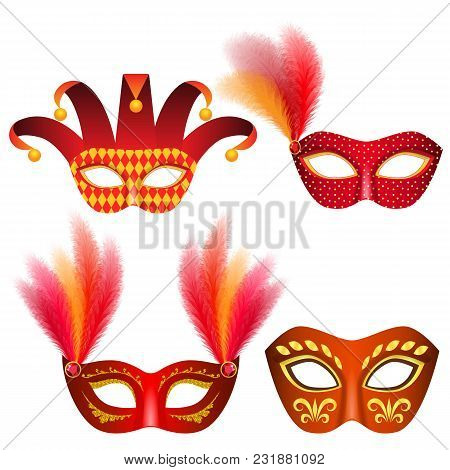 Carnival Mask Venetian Mockup Set. Realistic Illustration Of 4 Carnival Mask Venetian Mockups For We