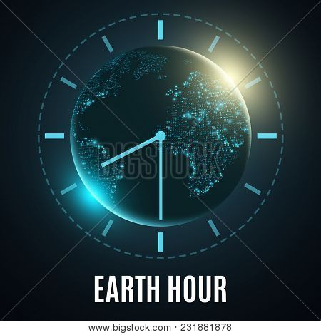 Earth Hour. Futuristic Planet Earth. 60 Minutes Without Electricity. Sunrise. Global Holiday. Abstra