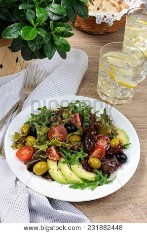 Summer Salad - With Avocado, Olives, Tomatoes In Lettuce Dressed, Mustard-garlic Sauce
