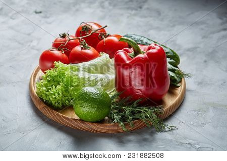 Delicious Seasoning Close-up Still Life Of Assorted Fresh Vegetables And Herbs On White Textured Bac