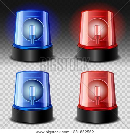 Flasher Siren Red And Blue Mockup Set. Realistic Illustration Of 4 Flasher Siren Red And Blue Mockup