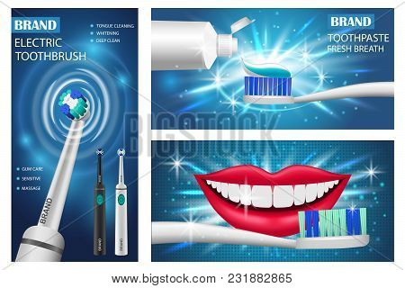 Toothbrush Dental Banner Concept Set. Realistic Illustration Of 3 Toothbrush Dental Vector Banner Ho