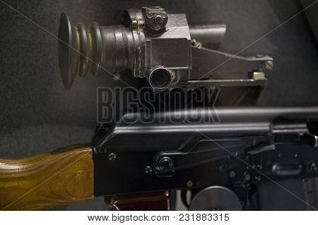 Soviet Military Automatic Rifle With Night Vision - Russian Weapon, Close Up