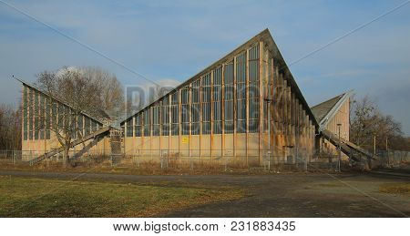 Magdeburg, Germany - Feb 19 2018 : Abandonded Multi-purpose Hall Built After Plans Of Ulrich Muether