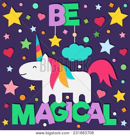 Be Magical. Card. Vector Illustration Of Unicorn
