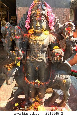 Bhairava A Hindu Deity, A Fierce Manifestation Of Shiva Statue Captured On 18th January 2018 At Durg