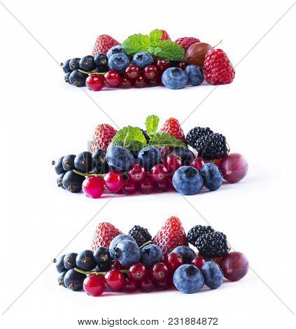 Ripe Currants, Blackberries, Blueberries, Strawberries And Raspberries With Mint Leaves. Set Of Mix