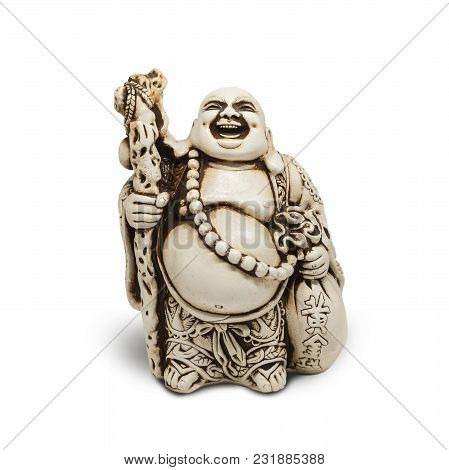 Asian decorative figurine Hotai, amulet brings happiness. Isolated on white background. With clipping path
