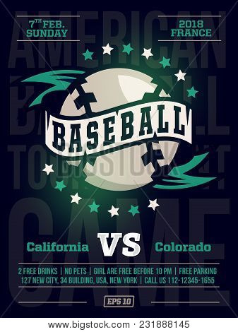 Modern Professional Sports Design Poster With Baseball Tournament In Black Theme