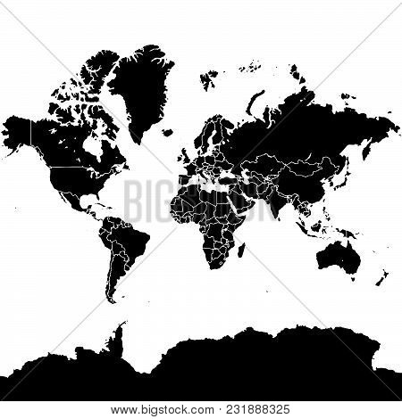 World Map Vector Version On Quadratic Background. Political Black And White Version