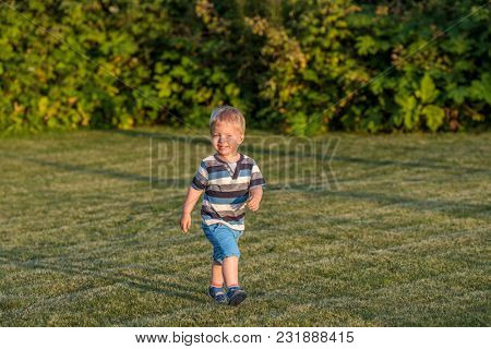 Portrait of toddler child outdoors. Rural scene with one year old baby boy running on meadow. Healthy preschool children summer activity. Kid playing outside.