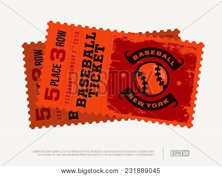 Two Modern Professional Design Of Baseball Tickets In Red Theme