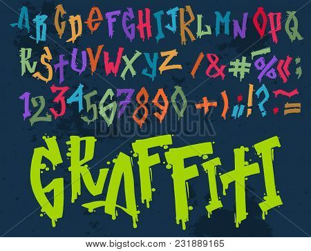 Hand Drawn Grunge Font Paint Symbol Design Detailed Vector Alphabet Graffiti Text Brush Graphic Ink.