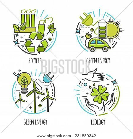 Ecology, Green Technology, Organic, Bio Vector Design Concept. Cartoon Thin Line Illustration For In