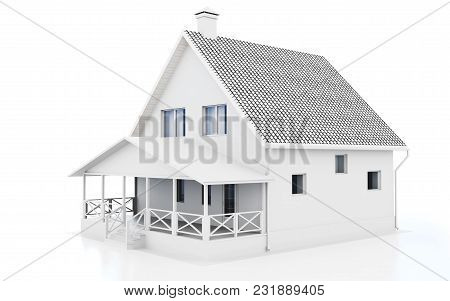 3d White Modern House On White Background 3d Illustration