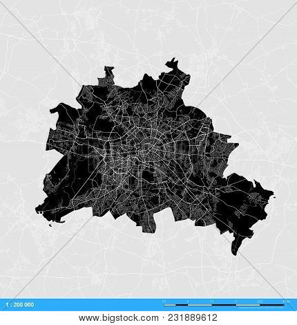 Berlin City Vector Map. Black And White Silhouette Version. Rich Details For Highways, Roads And Sma
