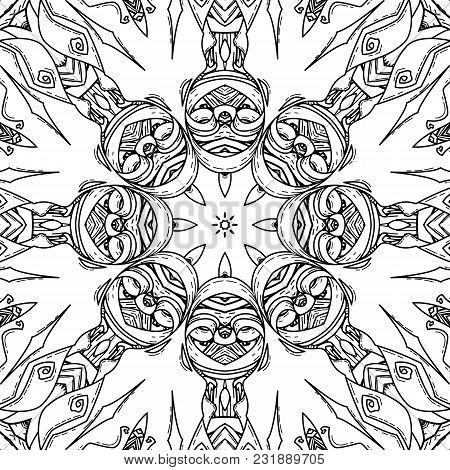 Vector Seamless Pattern In Mandala Style. Endless Ornate Ornament For Coloring Books